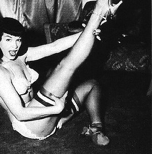 Betty Page showing her sensual pin-up body vintage porn erotica