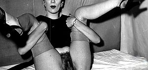 Women spreading legs and showing hairy twat in vintage creampie porn